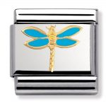 Nomination Charm. Classic Gold Blue Dragonfly Charm 030211/19
