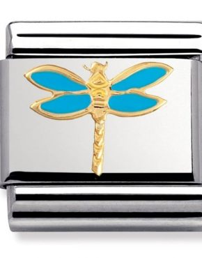 Nomination Charm. ClassicGold Blue Dragonfly Charm 030211/19
