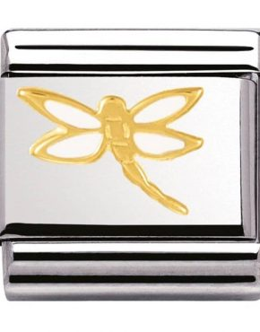 Nomination Charm. Classic Gold White Dragonfly Charm 030278/07