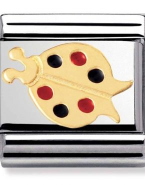 Nomination Charm. Classic Gold Red and Black Ladybug Charm 030211/07