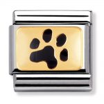 Nomination Charm. Classic Gold Black Paw Print Charm 030284/47