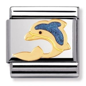 Nomination Charm. Classic Gold Dolphin Charm 030213/01