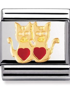 Nomination Charm. Classic Gold Cats with Hearts Charm 030248/01