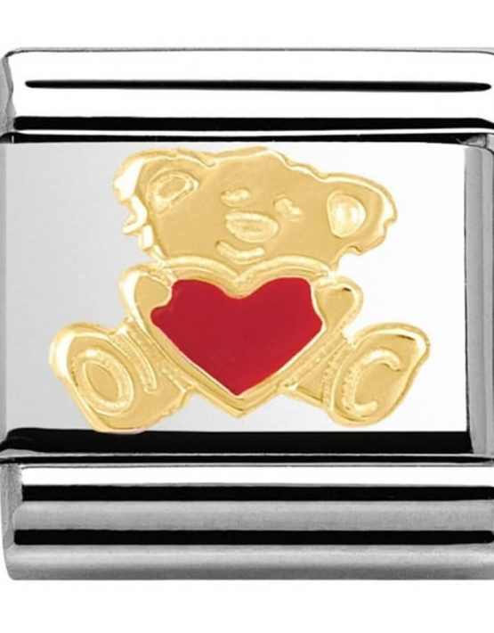 Nomination Charm. Classic Gold Teddy With Heart Bear Hug Charm 030253/32