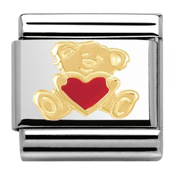 Nomination Charm. ClassicGold Teddy With Heart Bear Hug Charm 030253/32