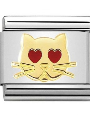 Nomination Charm. ClassicGold Cat with Heart Eyes Charm 030272/43
