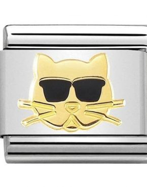 Nomination Charm. Classic Gold Cat with Sunglasses Charm 030272/44