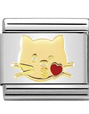 Nomination Charm. ClassicGold Flying Kiss Cat Charm 030272/45