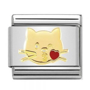 Nomination Charm. Classic Gold Flying Kiss Cat Charm 030272/45