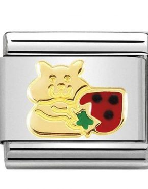 Nomination Charm. Classic Gold Hamster Strawberry Charm 030272/47