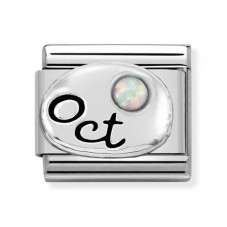 Nomination Charm Classic October Birthstone White Opal Charm 330505/10
