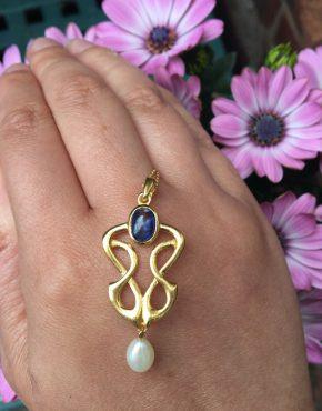 Kyanite and Pearl Pendant