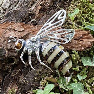 Large Amber Striped Hornet Brooch (ACSMLGHORNETB5625)