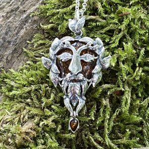 Amber Green Man of the Forest Pendant (ACSMGRNMANP30)