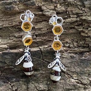 Amber Striped Hornet Drop Earrings (ACSMDREHORNET2212)