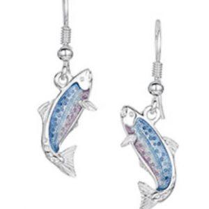 Fishing for Salmon Silver Drop Earrings EEX255