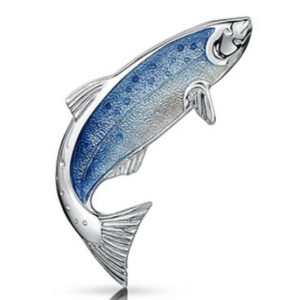Fishing for Salmon Silver Brooch EB255