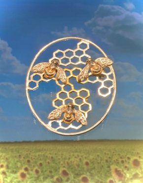 Honeycomb Bumble Bee Brooch ACPBBRPS9714