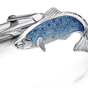 Fishing for Salmon Silver Cufflinks ECL255