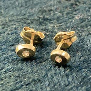 9ct Gold Tiny Oval Studs with CZ Sparkle