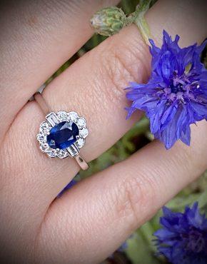 Blue Sapphire Art Deco Cluster ACVX3773