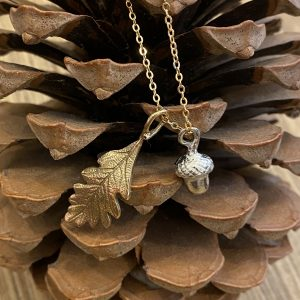 Acorn and Oak Leaf Pendant on pine cone