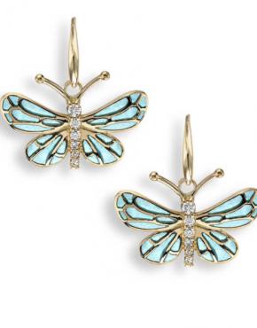 Nicole Barr enamel butterfly earrings in gold