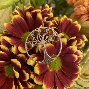 amber tree of life brooch