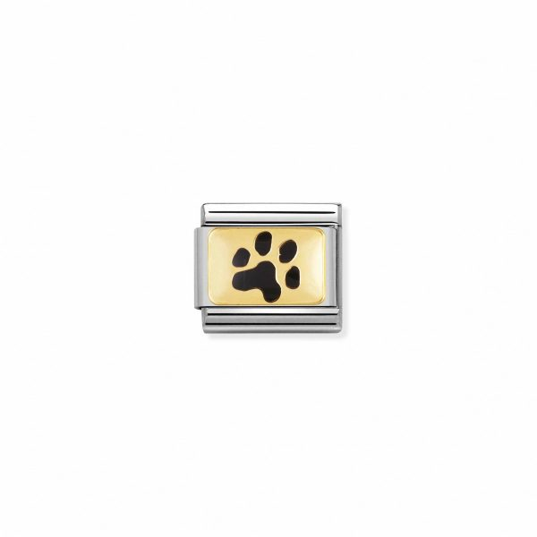 Nomination Classic Gold Black Paw Print Charm 030284/47