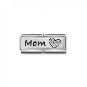 Nomination Classic Silvershine Double Mom Heart with CZ Charm 330731/06