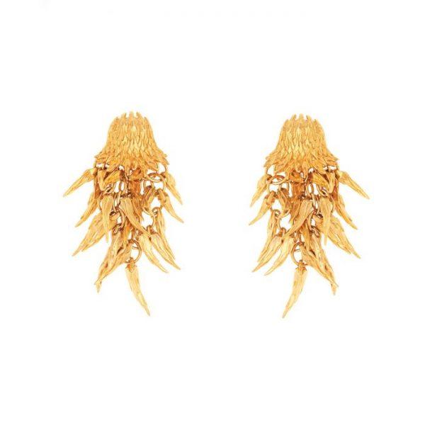 Dionysus Bear Earrings Gold Finish SHJ180-09-03