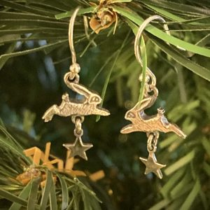 Silver Hare and Stars Drop Earrings ACNH335