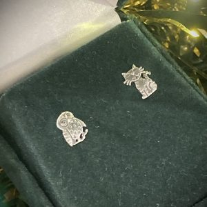 Silver Owl & Pussycat Stud Earrings ACNH340