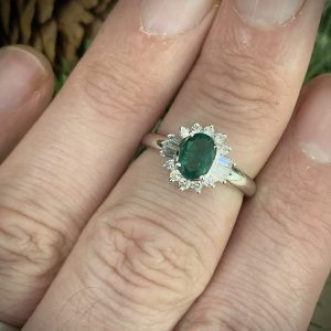Oval Emerald with Baguette & Round Diamond Accents ACV041/6