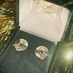 Robin Redbreast Studs in Silver & Rose Gold ACNH274