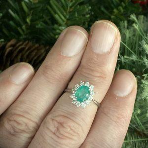 Oval Emerald & Round Brilliant Diamond Cluster ACV041/2