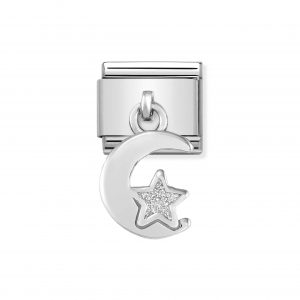 Nomination Classic Silvershine Moon and Star with Glitter Charm 331805/05