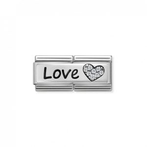 Nomination Classic Silvershine LOVE with CZ Heart Double Charm 330731/05