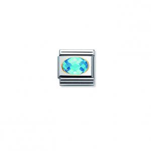 Nomination Classic Gold Light Blue CZ Charm 030601/006