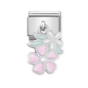 Nomination Classic Silvershine Pink and White Flowers Charm 331805/10