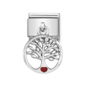 Nomination Classic Silvershine Tree of Life with Red Heart Charm 331805/07