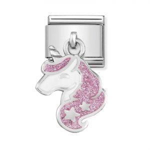 Nomination Classic Silvershine Pink Glitter Unicorn Charm 331805/13