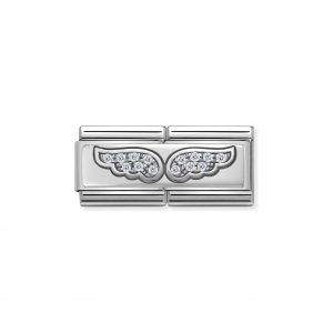 Nomination Classic Silvershine Angel Wings with CZ Double Charm 330732/01