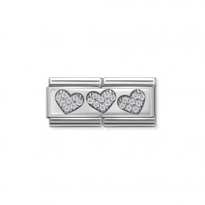 Nomination Classic Silvershine 3 Hearts with CZ Double Charm 330732/02