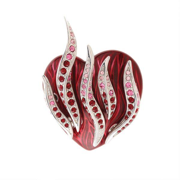 simon harrison flaming heart brooch