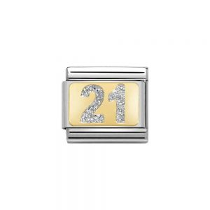 Nomination Gold 21 with Glitter Charm 030224/02