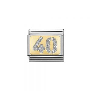 Nomination Gold 40 with Glitter Charm 030224/04