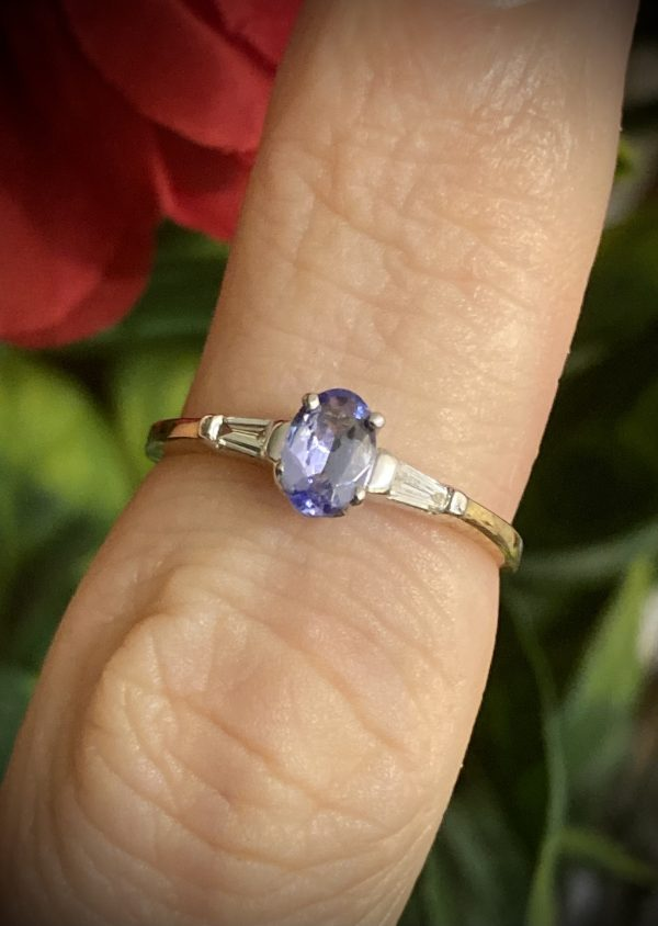 Oval Tanzanite with Tapered Baguette Diamond Accents ACA320A