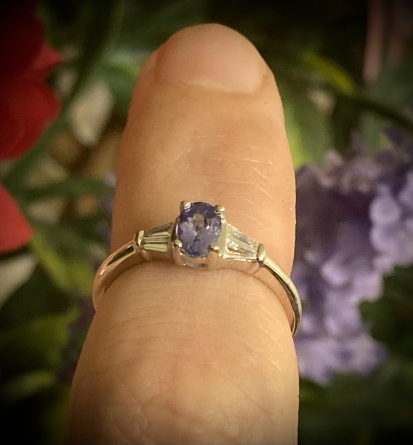 Oval Tanzanite with Tapered Baguette Diamond Accents ACX863