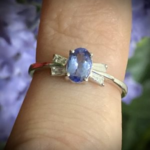 Oval Tanzanite with Tapered Baguette Diamond Accents Bow Tie ACX824